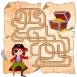 Ο πειρατής βοήθειας βρίσκει την πορεία στο στήθος θησαυρών λαβύρινθος Παιχνίδι λαβυρίνθου για τα κατσίκια απεικόνιση αποθεμάτων