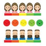 Ο πελάτης ανατροφοδοτεί την υπηρεσία Άνδρας, γυναίκα και αφηρημένο emoji εκτίμησης ελεύθερη απεικόνιση δικαιώματος