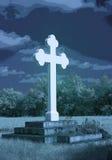 Ο περίκομψος σταυρός βάθρων Frauenkirchen με το μπλε η επίδραση Στοκ Εικόνες
