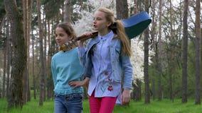 Ο περίπατος στο πάρκο στην άνοιξη δύο μικρή καυκάσια φίλη με την κιθάρα σε έναν ώμο πηγαίνει στη δασική πορεία Έννοια απόθεμα βίντεο