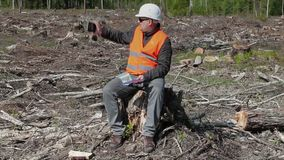 Ο περιβαλλοντικός επιθεωρητής παίρνει τις εικόνες στο δάσος απόθεμα βίντεο