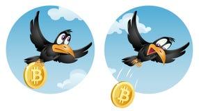 Ο πετώντας κόρακας μειώνεται bitcoin Στοκ Εικόνες