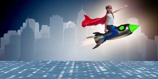 Ο πετώντας πύραυλος μικρών κοριτσιών στην έννοια superhero Στοκ φωτογραφία με δικαίωμα ελεύθερης χρήσης