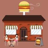 Ο πελάτης μπροστά από burger το εστιατόριο γρήγορου φαγητού καταστημάτων απολαμβάνει τον καφέ γευμάτων με τους φίλους διανυσματική απεικόνιση