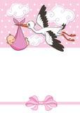Ο πελαργός φέρνει το κοριτσάκι Πρότυπο πρόσκλησης Διάνυσμα, απεικόνιση χαιρετισμός Στοκ εικόνα με δικαίωμα ελεύθερης χρήσης