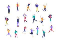 Ο πηδώντας χαρακτήρας σε διάφορο θέτει Ομάδα χαρούμενων γελώντας νέων που πηδούν με τα αυξημένα χέρια Ευτυχές θετικό ελεύθερη απεικόνιση δικαιώματος