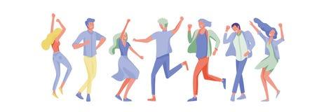 Ο πηδώντας χαρακτήρας σε διάφορο θέτει Ομάδα χαρούμενων γελώντας νέων που πηδούν με τα αυξημένα χέρια Ευτυχές θετικό απεικόνιση αποθεμάτων