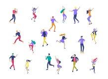 Ο πηδώντας χαρακτήρας σε διάφορο θέτει Ομάδα χαρούμενων γελώντας νέων που πηδούν με τα αυξημένα χέρια Ευτυχές θετικό διανυσματική απεικόνιση