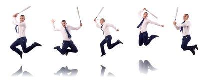 Ο πηδώντας επιχειρηματίας με το ρόπαλο του μπέιζμπολ Στοκ φωτογραφία με δικαίωμα ελεύθερης χρήσης