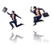 Ο πηδώντας επιχειρηματίας στο λευκό Στοκ εικόνα με δικαίωμα ελεύθερης χρήσης