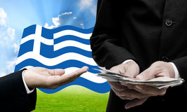 Ο πιστωτής προσφέρει περισσότερο δάνειο, κρίση χρέους Greece's Στοκ φωτογραφία με δικαίωμα ελεύθερης χρήσης