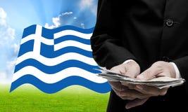 Ο πιστωτής προσφέρει περισσότερο δάνειο, κρίση χρέους Greece's Στοκ εικόνες με δικαίωμα ελεύθερης χρήσης
