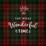 Ο πιό θαυμάσιος χρόνος Ευχετήρια κάρτα Χριστουγέννων, πρόσκληση με συρμένο το χέρι γκι και άσπρο κείμενο πέρα από το ταρτάν διανυσματική απεικόνιση