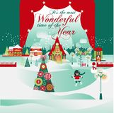 Ο πιό θαυμάσιος χρόνος ουρανός santa του Klaus παγετού Χριστουγέννων καρτών τσαντών Στοκ Εικόνα