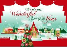 Ο πιό θαυμάσιος χρόνος ουρανός santa του Klaus παγετού Χριστουγέννων καρτών τσαντών Στοκ Φωτογραφία