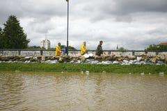 Ο πιό χειρότερα πλημμυρίζοντας στο αρχείο στα Βαλκάνια στη Σερβία Στοκ Εικόνες