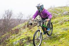 Ο ποδηλάτης κατεβαίνει από το βουνό σε ένα ποδήλατο βουνών, ελεύθερου χώρου για το κείμενό σας Στοκ Φωτογραφία