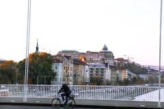 Ο ποδηλάτης οδηγά ένα ποδήλατο πέρα από τη γέφυρα, και στο υπόβαθρο Στοκ φωτογραφία με δικαίωμα ελεύθερης χρήσης