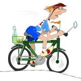Ο ποδηλάτης στρίβει το πεντάλι με το όλο δικοί του Διανυσματική απεικόνιση