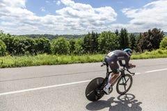 Ο ποδηλάτης Luke Rowe - Criterium du Dauphine 2017 Στοκ Εικόνα
