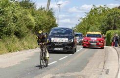 Ο ποδηλάτης Thomas Voeckler - Criterium du Dauphine 2017 Στοκ Εικόνες