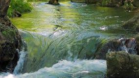 Ο ποταμός βουνών στενεύει σε έναν μικρό καταρράκτη απόθεμα βίντεο