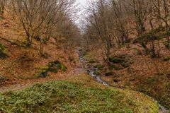 Ο ποταμός φθινοπώρου στα βουνά Στοκ Εικόνες