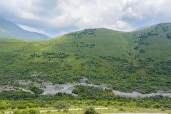 Ο ποταμός Genaldon κατά τη θερινή άποψη φαραγγιών Karmadon Βόρεια Οσετία, Ρωσία βουνά Καύκασου Στοκ Εικόνες