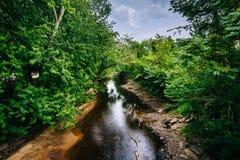 Ο ποταμός Piscataquog, στο Μάντσεστερ, Νιού Χάμσαιρ Στοκ εικόνες με δικαίωμα ελεύθερης χρήσης