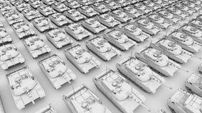 Ο πολλαπλάσιος στρατός τοποθετεί σε δεξαμενή τις σειρές, εναέρια ζωτικότητα σκίτσων άποψης Άνευ ραφής loopable 4K συνδετήρας απεικόνιση αποθεμάτων