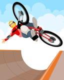 Ο ποδηλάτης εκτελεί ένα τέχνασμα Απεικόνιση αποθεμάτων