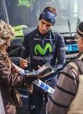 Ο ποδηλάτης Herada που υπογράφει το αυτόγραφο στους ανεμιστήρες Στοκ Φωτογραφίες