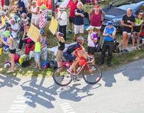Ο ποδηλάτης Martin Elmiger στο συνταγματάρχη du Glandon - περιοδεύστε το de Γαλλία 2 Στοκ Εικόνες