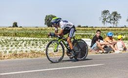Ο ποδηλάτης Nairo Αλέξανδρος Quintana Rojas- άσπρο Τζέρσεϋ Στοκ φωτογραφίες με δικαίωμα ελεύθερης χρήσης