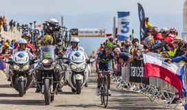 Ο ποδηλάτης Nairo Αλέξανδρος Quintana Rojas σε Mont Ventoux Στοκ Εικόνες