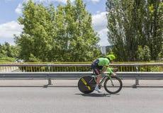 Ο ποδηλάτης Sebastian Langeveld - Criterium du Dauphine 2017 Στοκ Φωτογραφία