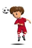 Ο ποδοσφαιριστής κτυπά το κεφάλι σφαιρών διανυσματική απεικόνιση