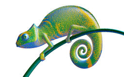 Ο πράσινος και πορφυρός χαμαιλέοντας, βλέπει τη δευτερεύουσα, τρισδιάστατη απόδοση απεικόνιση αποθεμάτων