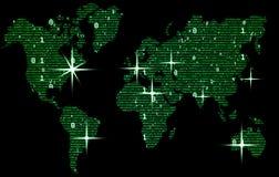 Ο πράσινος παγκόσμιος χάρτης αποτελείται από το δυαδικό κώδικα, έννοια του ψηφιακού κόσμου διανυσματική απεικόνιση