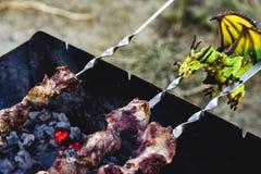 Ο πράσινος δράκος είναι ψημένο μάγειρας κρέας Στοκ Φωτογραφία