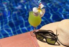 Ο πράσινος φρέσκος καταφερτζής χυμού γκοϋαβών πίνει το κοκτέιλ, γυαλιά ηλίου και Στοκ Φωτογραφία