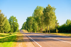 Ο προαστιακός δρόμος μια ηλιόλουστη ημέρα στοκ φωτογραφία