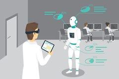 Ο προγραμματίζοντας μηχανικός θέτει ένα ρομπότ χρησιμοποιώντας την επικεφαλής-τοποθετημένη συσκευή για την αυξημένη και εικονική  ελεύθερη απεικόνιση δικαιώματος