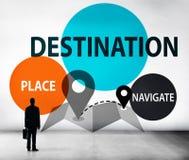 Ο προορισμός πλοηγεί την έννοια ταξιδιού θέσεων εξερεύνησης στοκ φωτογραφίες