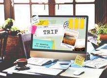 Ο προορισμός ταξιδιού ταξιδιού ερευνά την έννοια γύρου στοκ εικόνες