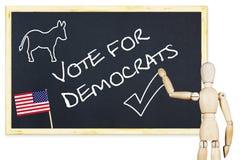 Ο προπαγανδιστής ενθαρρύνει για να ψηφίσει για τους δημοκράτες στις αμερικανικές εκλογές στοκ φωτογραφία με δικαίωμα ελεύθερης χρήσης