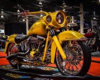 Ο προσαρμοσμένος Harley Davidson, μοτοσικλέτα του Μίτσιγκαν παρουσιάζει Στοκ Εικόνες