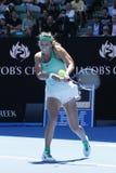 Ο πρωτοπόρος Βικτώρια Azarenka του Grand Slam της Λευκορωσίας στη δράση κατά τη διάρκεια της γύρω από την αντιστοιχία 4 σε Αυστρα Στοκ Φωτογραφίες