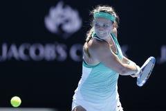 Ο πρωτοπόρος Βικτώρια Azarenka του Grand Slam της Λευκορωσίας στη δράση κατά τη διάρκεια της γύρω από την αντιστοιχία 4 σε Αυστρα Στοκ Φωτογραφία