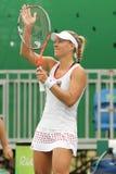Ο πρωτοπόρος Angelique Kerber του Grand Slam της Γερμανίας γιορτάζει τη νίκη μετά από ξεχωρίζει την πρώτη στρογγυλή αντιστοιχία τ Στοκ Εικόνες
